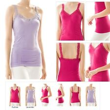ONE SIZE Seamless Basic Lace Trim Ruched Tank Top Camisole