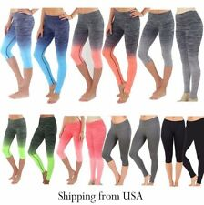Women Ombre Capri Cropped Leggings Yoga Pants for Gym Fitness Workout Wear S M L