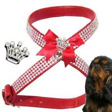 Dog Chihuahua Chest Harness Rhinestone harness Faux leather Red Crown XXS-M O3