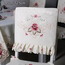 Rural Flower Floral Embroidered Tie-on Seat Cushion Pad Dining Chair Cover #17