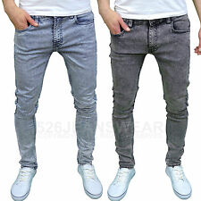 Soulstar Mens Boys Skinny Stretch Acid Wash Jeans, Black Snow/Light Snow. BNWT