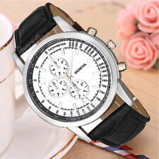 Geneva Men Business Classic Design Dial Leather Sport Analog Quartz Wrist Watch