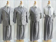 Well tailored Dark grey chambray Boy wedding formal party suit 5 pc set all size