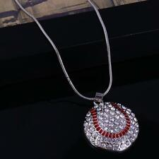Pendant Rhinestone Necklace Heart Football Volleyball Chain Sport Silver Jewelry