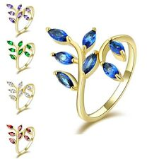 Size 6,7,8,9,10 Cute Leaves 10KT Yellow Gold Filled Women's Engagement Ring Gift