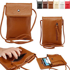 Universal Leather Cell Phone Cover Case Pocket Purse Handbag Shoulder Bag Pouch