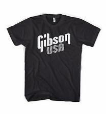 BLACK T-SHIRT WITH WHITE GIBSON USA Logo - Les Paul SG 335 Dove Guitar acoustic