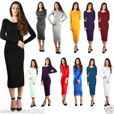 Women Ladies Long Sleeve Plain Knee Length Midi Knee Length Summer Party Dress