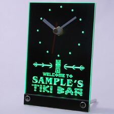 tncpm-tm Tiki Bar Personalized Bar Beer Decor Neon Led Table Clock