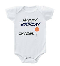 Happy Birthday Name Balloon Custom Infant Toddler Baby Cotton Bodysuit One Piec