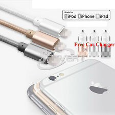 Nylon Braided Lightning 8pin to USB Data Cable + Dual Port Car Adapter F iPhone