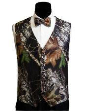NEW 2XL Mossy Oak Tuxedo Vest Bow Tie Hankie Alpine Break Up Camo XXL FREE SHIP