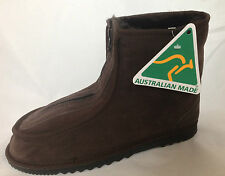 GENUINE AUSTRALIAN MADE SHEEPSKIN SHORT ZIP THROUGH UGG BOOT CHOCOLATE  PULL ON