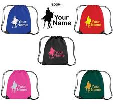 PERSONALISED PRINTED DRAWSTRING GYM/SHOE BAG WITH HORSE DESIGN - school pony HO5
