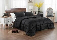 3PC REVERSIBLE SOLID EMBOSS STRIPED COMFORTER SET-OVERSIZED AND OVERFILLED-BLACK