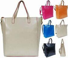 WOMENS FAUX LEATHER LARGE TOTE LADIES SCHOOL COLLEGE A4 SIZE SHOULDER HAND BAG