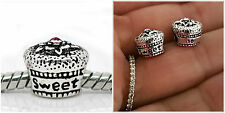 """Sweet 16 16th"" Birthday Gift cake Pink CZ bead Fit European charm bracelets"
