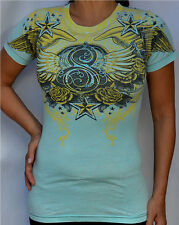 Sinful by Affliction SABARIA Woman's Short Sleeve Tee Shirt - S2171 - Turquoise