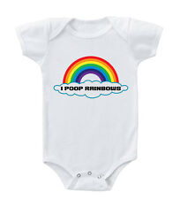 Colorful Rainbow I Poop Rainbows Infant Toddler Baby Cotton Bodysuit One Piece