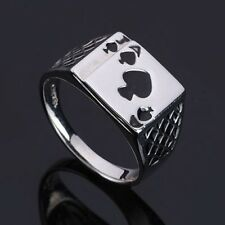 New Fashion Mens Womens Silver Ace of Spades Casino Poker Card Ring