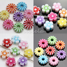 New 50/100Pcs Mixed Acrylic Flower Loose Spacer Beads Jewelry Findings 8*3(4)mm
