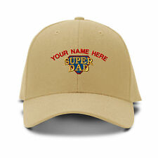 Custom Name Super Dad Embroidery Embroidered Adjustable Hat Baseball Cap
