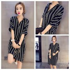 Stylish Women's Short Sleeve Striped Button Front Loose Casual Shirt Dress M-5XL