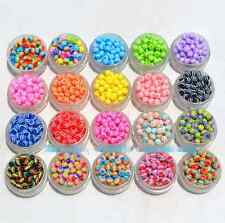 Wholesale 100/500/1000pcs 8mm Resin striped beads color round bead