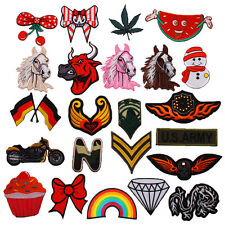 DIY New Embroidered Iron On Patch Applique Decal Heart Cherry Horse army snowman
