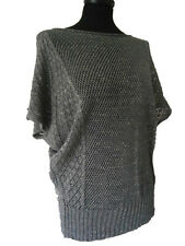 LADIES FINE CROCHET LIGHTWEIGHT SHORT BATWING SLEEVE JUMPER  SIZE 8-14