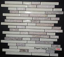 Gold Quartz Stone Mosaic White Polished Matt Glass Tile Kitchen Backsplash (Z33)