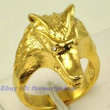 SIZE 9#,10# WOLF'S HEAD RING 23mm7g 18K YELLOW GOLD PLATED SOLID FILL GP GEP