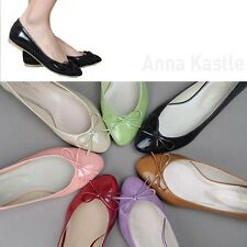 AnnaKastle New Womens Almond Toe Comfort Patent Bow Ballet Flat Shoes US 5 6 7 8