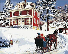 CANVAS TAPESTRY NEEDLEPOINT PRINTED - Beautiful Scene Return On Snow Day