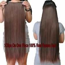 200g Deluxe Thick 5Clips On One Piece Clip In 100%Real Human Hair Extensions AU