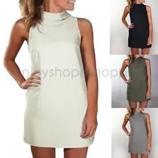 Fashion Women's Summer High-collar Straight Dress Casual Solid Party Mini Dress