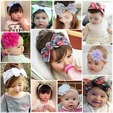 Top Baby Kid Girls Lace Floral Rabbit Bow Headband Hairband Headwrap Turban Knot
