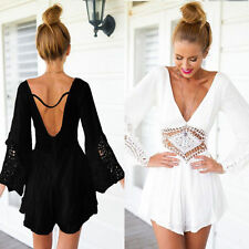 Sexy Women Summer Loose Deep V-Neck Backless Playsuit Casual Jumpsuit&Romper
