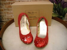 Matt Bernson Red Suede Sequins Captoe Ballet Flats NEW