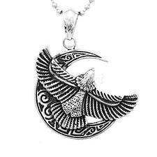 Mens Eagle Necklace Stainless Steel Silver Gold Pendant Ball Bead Chain