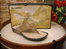 Aetrex Montserrat Brown Leather Comfort Thong Sandal NEW