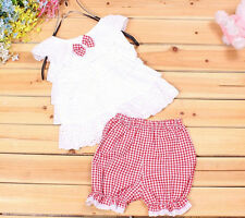 Clothes Kids Girls Pants Tops+Short 1SET Outfit Trousers Baby Toddler T-shirt