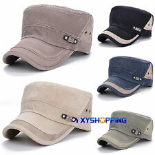 Unisex Adjustable Flat Hat Mens Solid Color Classic Cadet Military Baseball Caps