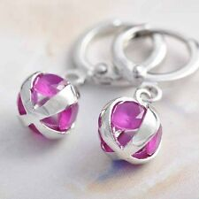 Crystal chandelier ball small hoop earrings Silver Plated womens girls earings