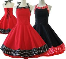 50s Cotton Red Black Vintage Dress Dancing Party Swing Jive Rockabilly Dress