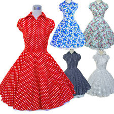 Summer 50s 60s Hepburn Style Swing Vintage Dress Polka Dot Rockabilly Dress