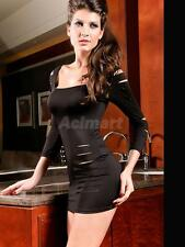 Wow!! Sexy Punk Round Neck Striped Hollowed Party Mini Dress Clubbing Clubwear