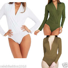 Ladies Women Long Sleeve Deep V Neck Front Open Chiffon Bodysuit Leotards Tops