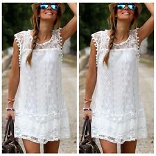 Graceful Women White Sleeveless Lace Ball Gown Embroidery Slim Cocktail Dress