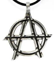 ANARCHY Silver Pewter Pendant Leather NECKLACE Surfer